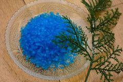 Blue bath salt. For relaxation and aromatherapy Stock Photos