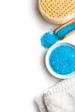 Blue bath salt. On white background Stock Photo