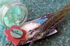 Bath salts and lavender. Blue bath salts with lavender Stock Image