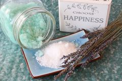 Choose happiness. Blue bath salts with lavender and choose happiness sign Royalty Free Stock Image