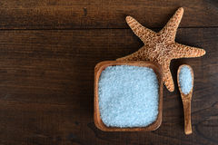 Blue bath salts with starfish Stock Photo