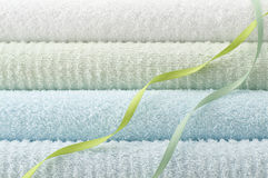 Blue bath towel Royalty Free Stock Image