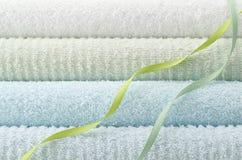 Blue bath towel Royalty Free Stock Image