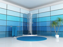 Blue bathroom Stock Photos