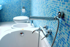 Blue bathroom. Closeup with blue mosaic tiles Stock Photography
