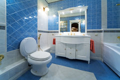 Blue bathroom. Fashionable blue bathroom in a modern apartment Stock Photography
