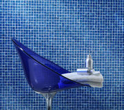 Blue bathroom closeup stock image