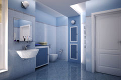 Blue bathroom Royalty Free Stock Images