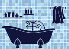 Blue bathroom interior. With bath Royalty Free Stock Photo