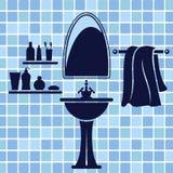 Blue bathroom interior Royalty Free Stock Photo