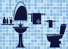 Blue bathroom interior. This is file of EPS10 format Royalty Free Stock Image