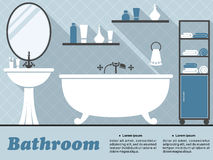Blue bathroom interior infographic royalty free illustration