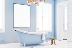 Blue bathroom interior with poster, side Stock Images