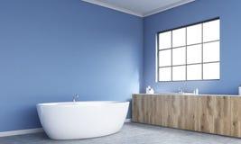 Blue bathroom interior side Stock Photos