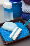 Blue bathroom items Royalty Free Stock Photography