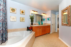 Blue bathroom with large triangle tub Stock Images