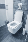 Blue bathroom in a modern room. Blue bathroom and toilet in a modern room Royalty Free Stock Photo