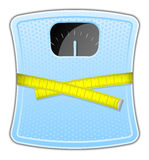 Blue bathroom scale. Vector illustration of blue bathroom scale with measuring tape Royalty Free Stock Photography