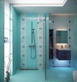 Blue bathroom scene Stock Photos