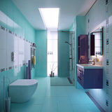 Blue bathroom scene stock images