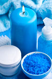 Blue bathroom set Stock Photography