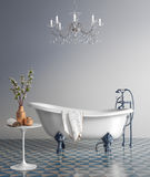 Blue bathroom with vintage bathtub. Rendering of a Blue bathroom with vintage bathtub Stock Photography