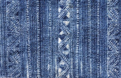 Blue Batik Cloth Pattern Royalty Free Stock Photo