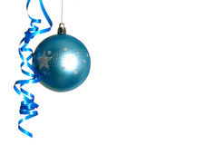 Blue bauble. Blue christmas bauble isolated on the white Stock Images