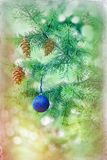 Blue bauble on Christmas tree (xmas ball) Royalty Free Stock Photos