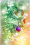 Blue bauble on Christmas tree Royalty Free Stock Image