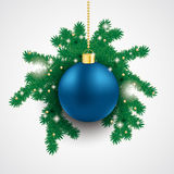 Blue Bauble  Fir Branch. Snow with blue bauble and fir branches on the grey background Stock Photos