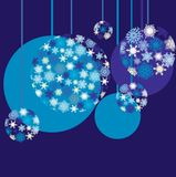 Blue baubles. Background for your greetings card,  illustration,  see more at my portfolio, you can type your text Royalty Free Stock Photography