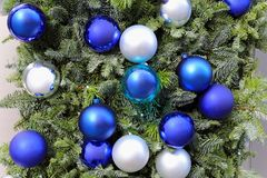 Blue baubles Stock Images