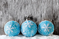 Blue Baubles. Close up photograph of some blue christmas balls stock image