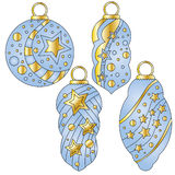 Blue baubles with glossy golden stars and dot Royalty Free Stock Photos