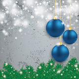 Blue Baubles Light Fir Branch Concrete Royalty Free Stock Photos