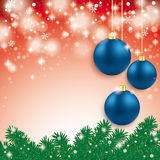 Blue Baubles Light Fir Branch Red Background. Blue baubles with fir branches on the grey background Royalty Free Stock Photos