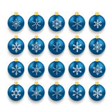 Blue Baubles With Snowflakes Set Royalty Free Stock Photography