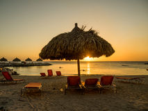 Blue Bay Beach Sunset. On the Caribbean Island of Curacao in the Dutch Antilles Royalty Free Stock Image