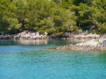 A blue  bay in Croatia in the Mediterranean Stock Photos