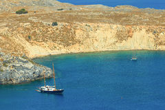 Blue bay of Lindos, Rhodes. Royalty Free Stock Photo