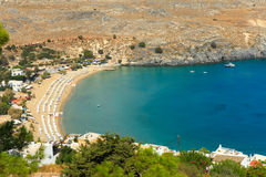 Blue bay of Lindos, Rhodes. Stock Photo