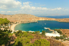 Blue bay of Lindos, Rhodes. Royalty Free Stock Image