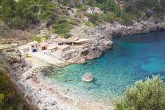 Blue bay of Mallorca. Along the  northern coast of Mallorca Royalty Free Stock Photos