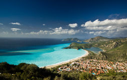 Blue bay of Mediterranean Sea in daylight Stock Images