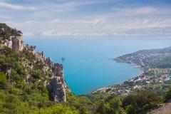 Blue bay near Simeiz town in Crimea Stock Photo