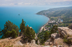 Blue bay near Simeiz town in Crimea Stock Photos