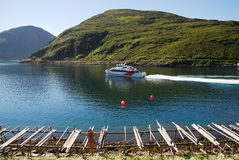 Blue bay with speedboat and wooden rackes. Royalty Free Stock Photography