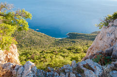 Blue bay under Lubenice town in Cres Stock Photography