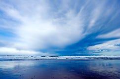 Blue beach. Dramatic sky in de coust. National park Cantabria Spain stock photos